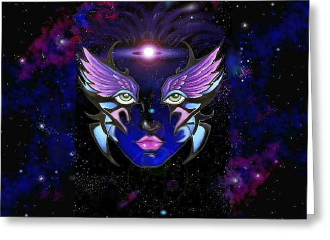 Space Goddess  Greeting Card by Carmen Daspit