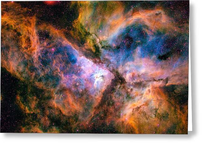 Space Image Carina Nebula Orange Red Blue Greeting Card