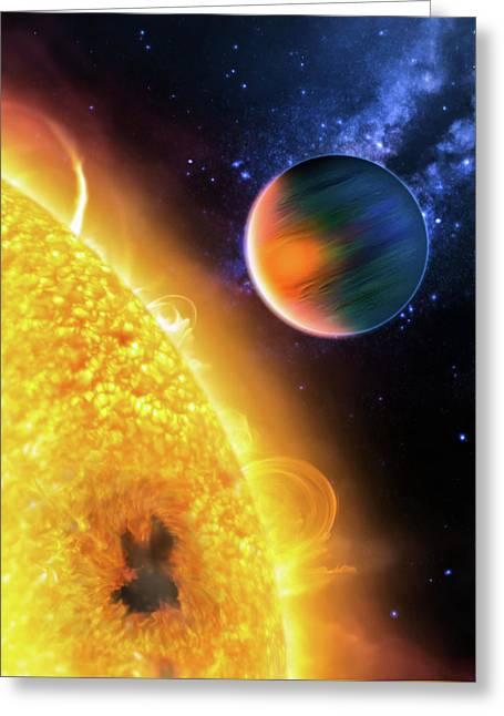 Space Image Extrasolar Planet Yellow Orange Blue Greeting Card