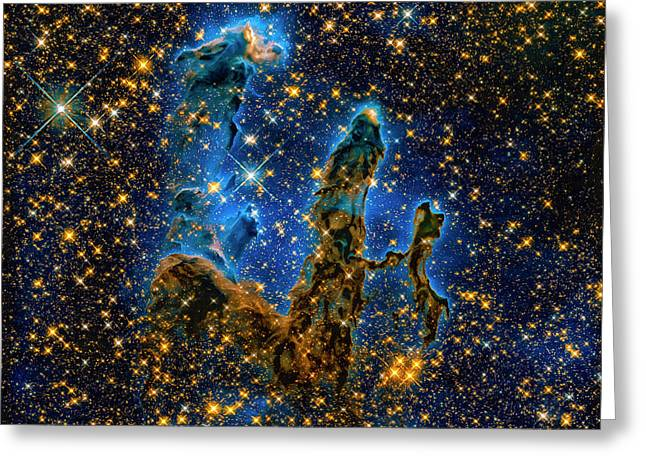 Space Image Pillars Of Creation Infrared Light Greeting Card