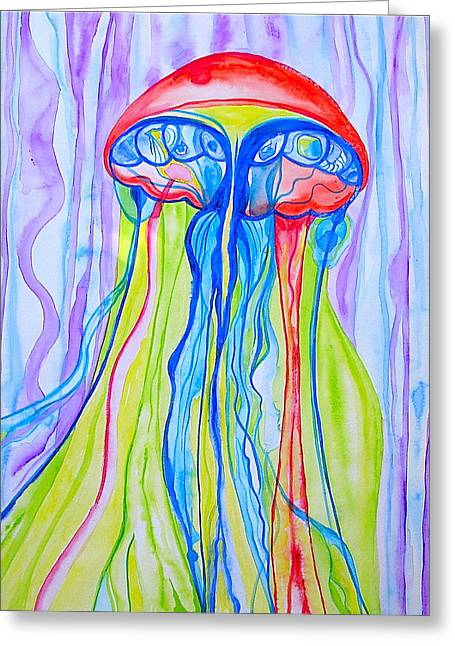 Greeting Card featuring the painting Space Jelly by Erika Swartzkopf