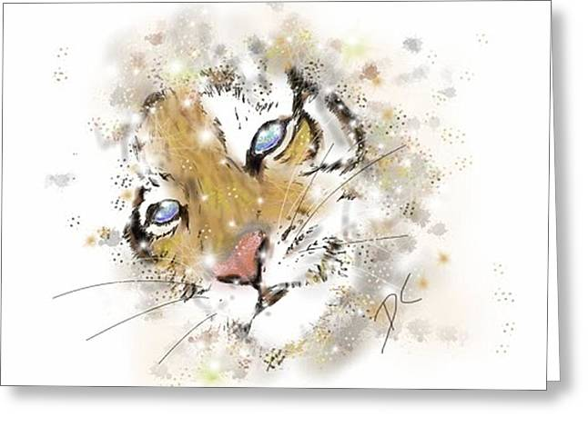 Space Lion Cub White Greeting Card by Darren Cannell