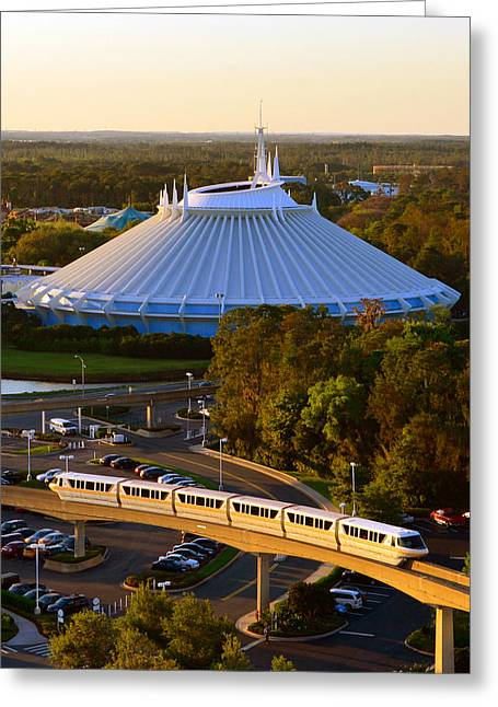 Space Mountain And Monorail Peach Greeting Card
