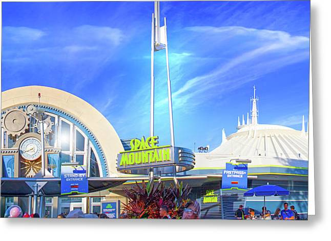 Greeting Card featuring the photograph Space Mountain Entrance Panorama by Mark Andrew Thomas