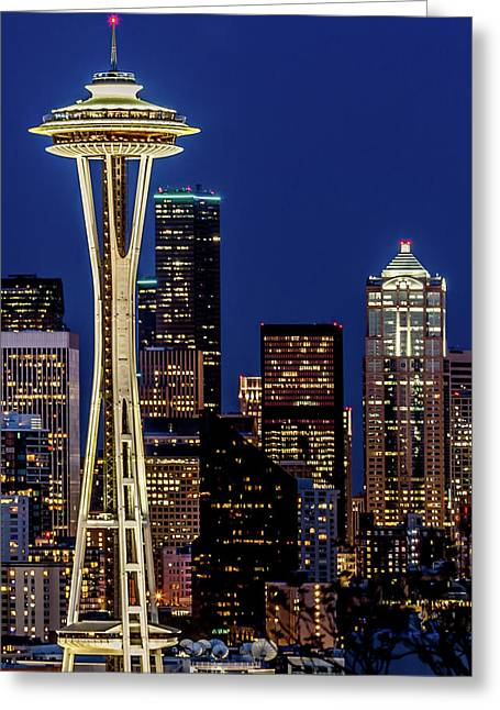 Space Needle And Skyline At Dusk Greeting Card