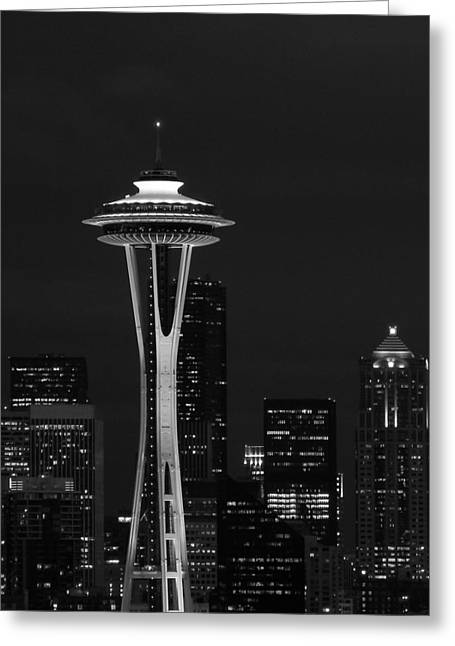 Space Needle At Night In Black And White Greeting Card by Mark J Seefeldt