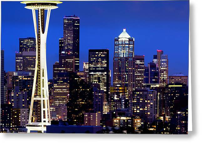 Space Needle At Night  Greeting Card