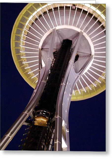 Space Needle Close-up Greeting Card by Sonja Anderson