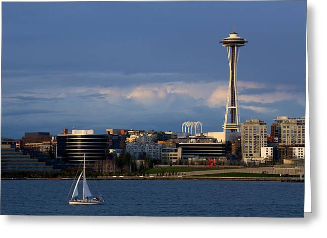 Greeting Card featuring the photograph Space Needle by Evgeny Vasenev