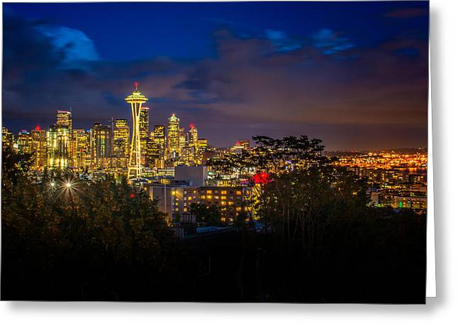 Space Needle In Seattle After Dark Greeting Card