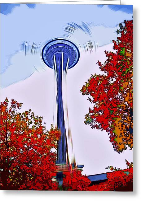 Space Needle Poster Art Greeting Card by Steve Ohlsen