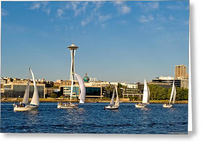 Space Needle Sailboats Greeting Card by Tom Dowd