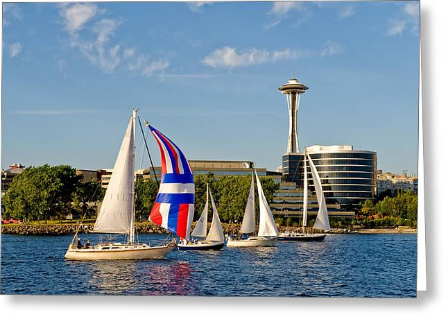 Space Needle Seattle Greeting Card by Tom Dowd