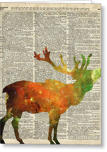 Space Reindeer Greeting Card by Jacob Kuch