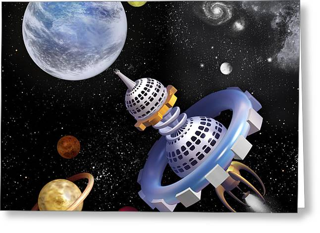 Space Shuttle Greeting Card by Anne Menschenkind