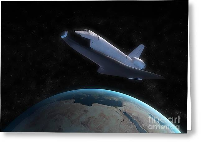 Space Shuttle Backdropped Against Earth Greeting Card by Carbon Lotus