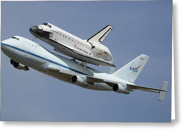 Space Shuttle Endeavour Over Lax September 21 2012 Greeting Card by Brian Lockett