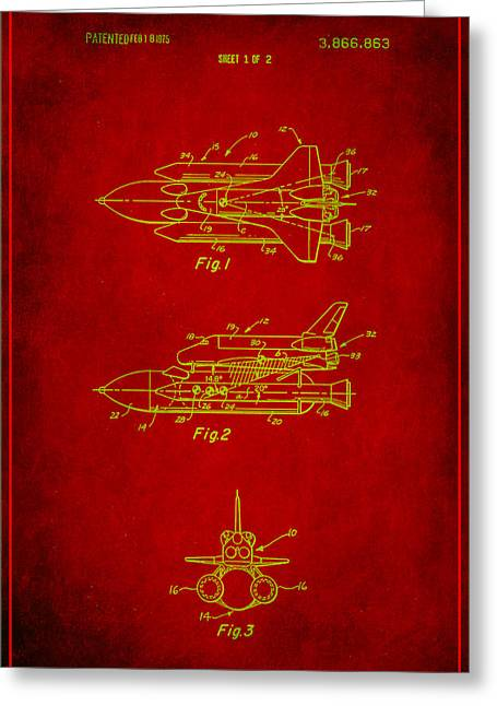Space Shuttle Patent Drawing 1a Greeting Card