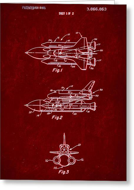 Space Shuttle Patent Drawing 1b Greeting Card