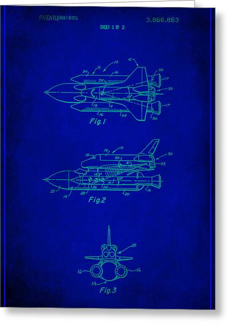 Space Shuttle Patent Drawing 1e Greeting Card