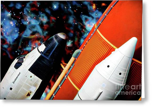 Greeting Card featuring the digital art Space Shuttle by Ray Shiu