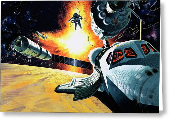Space Shuttle Greeting Card by Wilf Hardy