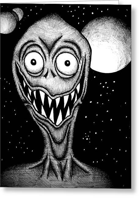 Space Smiles Greeting Card by Dylan Studebaker