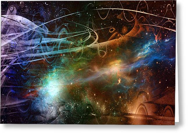 Greeting Card featuring the digital art Space Time Continuum by Linda Sannuti