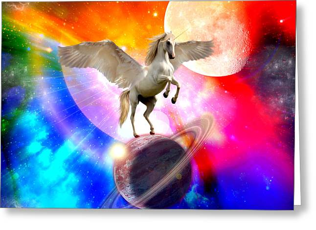 Space Unicorn Greeting Card