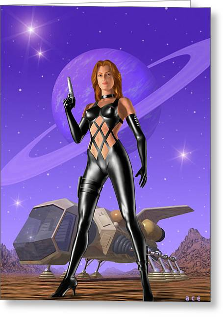 Spacehunter Greeting Card by Ace Layton