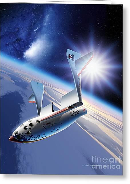 Spaceshipone Re-entry Greeting Card by Detlev van Ravenswaay and Photo Researchers