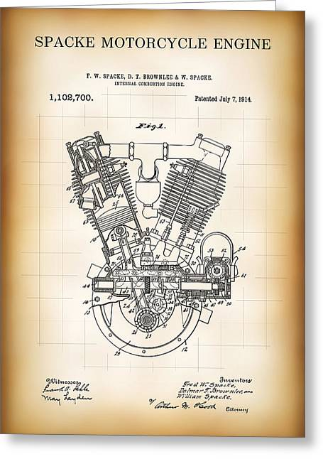 Spacke Motorcycle Engine Patent 1914 Greeting Card by Daniel Hagerman