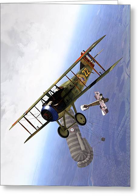 Spad Balloon Cap Greeting Card