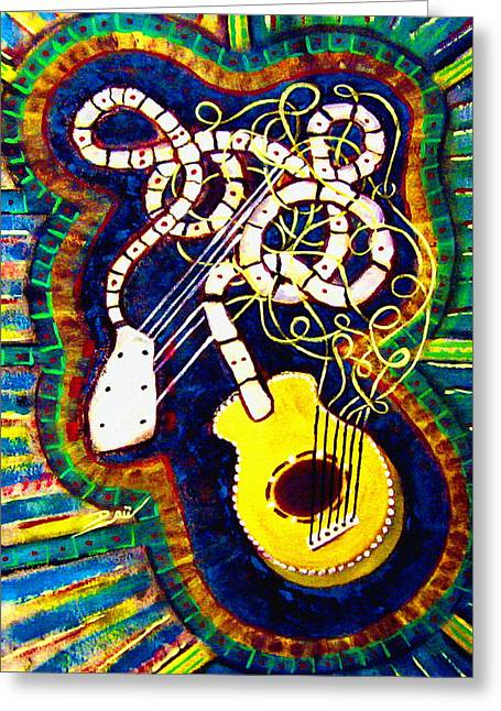 Eric drury greeting cards greeting card featuring the painting spaghetti guitar by eric drury of distant sonrise m4hsunfo Images
