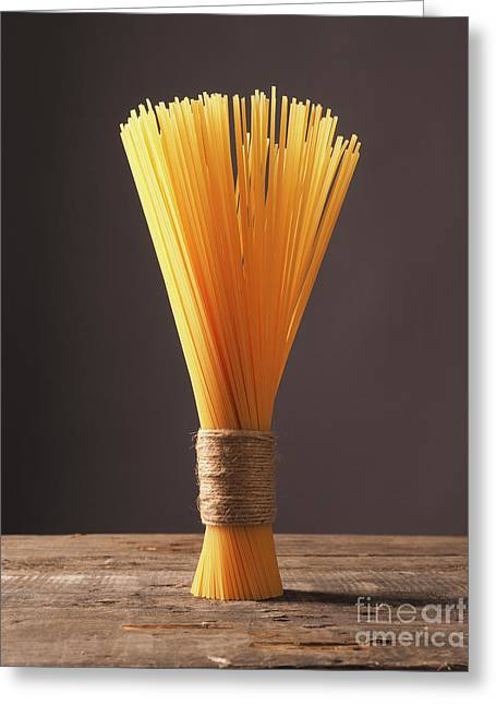 Spaghetti On A Wooden Table Greeting Card