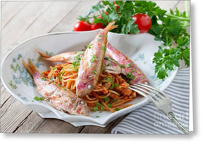 Spaghetti With Red Mullet Greeting Card by Ezeepics