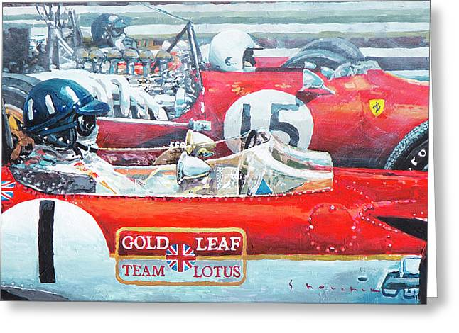 Spain Gp 1969  Lotus 49 Hill  Ferrari 312 Amon  Lotus 49b Rindt  Greeting Card