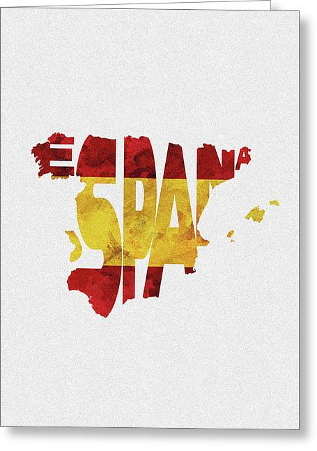 Spain Typographic Map Flag Greeting Card