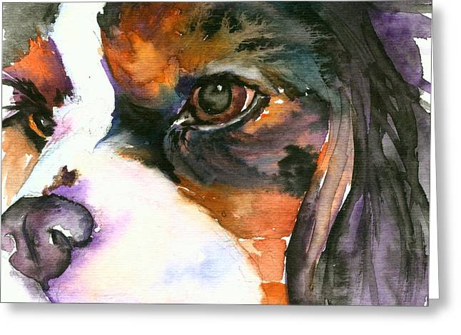 Greeting Card featuring the painting Spaniel by Christy Freeman