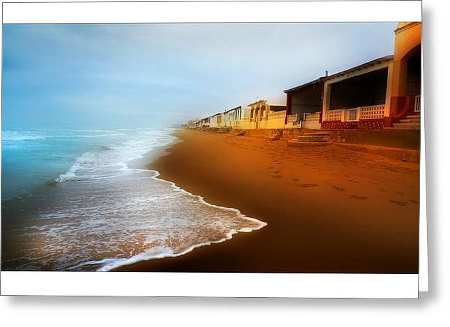 Spanish Beach Chalets Greeting Card by Mal Bray