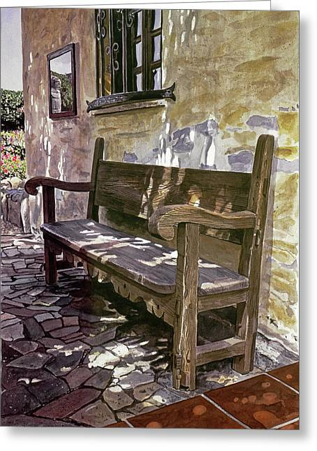 Spanish Bench, Mission Carmel Greeting Card