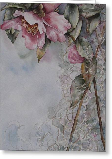 Greeting Card featuring the painting Spanish Camellias by Mary McCullah