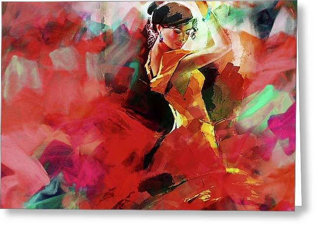 Greeting Card featuring the painting Spanish Dance by Gull G