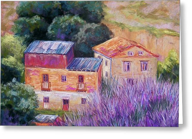 Brick Pastels Greeting Cards - Spanish Farmhouses Greeting Card by Candy Mayer