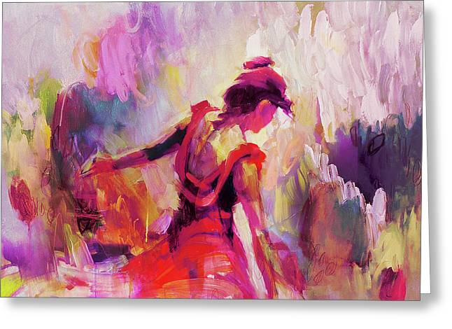 Greeting Card featuring the painting Spanish Female Art 0087 by Gull G