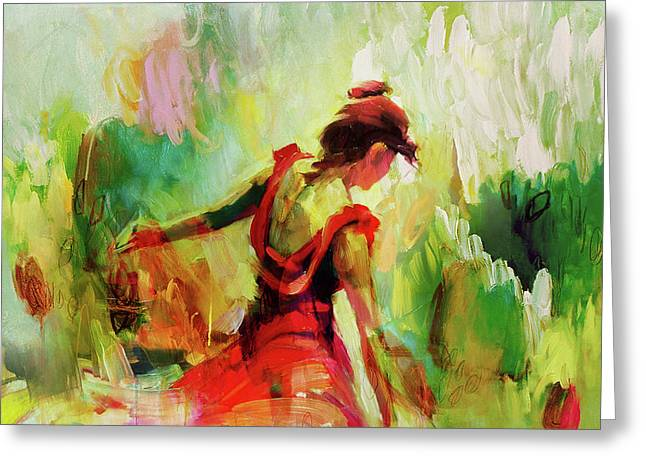 Greeting Card featuring the painting Spanish Female Art 56y by Gull G