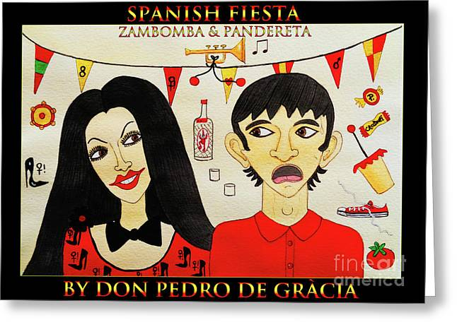 Spanish Fiesta Zambomba And Panderetta Greeting Card by Don Pedro De Gracia