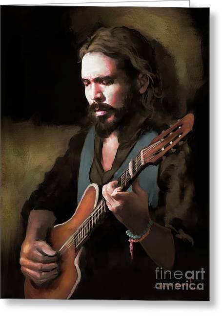 Greeting Card featuring the digital art Spanish Guitar - El Javi by Dwayne Glapion
