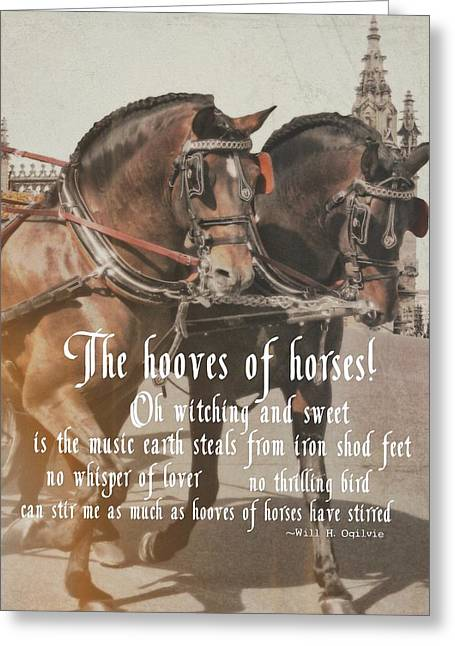 Spanish Horses Quote Greeting Card by JAMART Photography