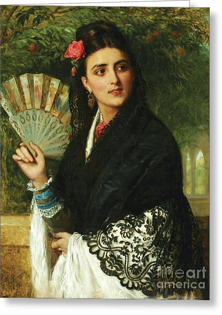 Spanish Lady With Fan Greeting Card by Pg Reproductions